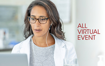 "The words ""All Virtual Event"" next to an image of a female lab professional in a white lab coat who is wearing earbuds and looking at her laptop with an interested expression on her face."
