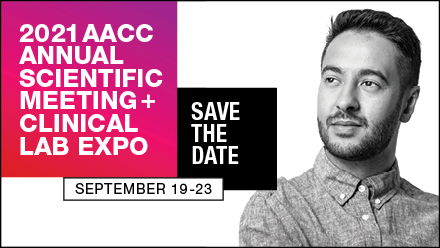 "A black and white photo of a man looking intrigued beside the words, ""2021 AACC Annual Scientific Meeting & Clinical Lab Expo - Save the Date - September 19-23."""